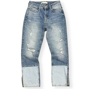 Zara Distressed High Rise Ankle Straight Jeans
